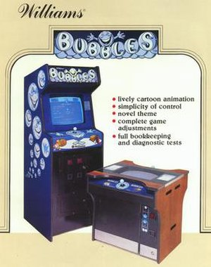Bubbles (video game) - Bubbles promotional flyer, showcasing the wooden upright and cocktail cabinets
