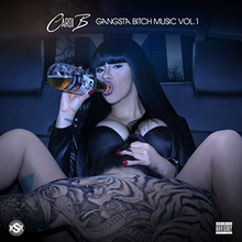 "Cardi B sitting in a car and drinking alcohol. On the top, there is a Cardi B logo and written ""GANGSTA BITCH MUSIC VOL. 1"", on the bottom-left a KSR label logo, and on the bottom-right a Parental Advisory logo."