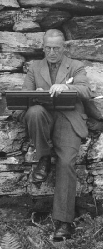 Charles S. T. Calder - Calder 'sweetening' a drawing in 1947. He is adding finishing touches to the survey drawing (prepared with Kenneth Steer) of the broch at Dun An Ruigh Ruadh. Extract of RCAHMS image SC1121381.