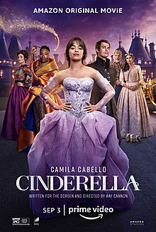 Cinderella in purple ballgown, flanked by the other characters