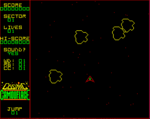Cosmic Camouflage - In game screenshot (BBC Micro). This version uses four colours compared to the Electron's two.