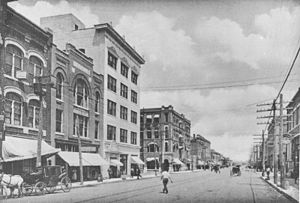 History of Tulsa, Oklahoma - Downtown Tulsa, looking east on 2nd Street from Main Street, 1908.