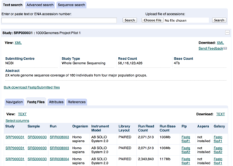 European Nucleotide Archive - Screenshot of the ENA browser web interface, showing an HTML record.