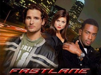 Fastlane (TV series) - Promotional image (from left to right) Facinelli, Thiessen, and Bellamy