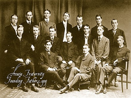 Malcolm (2nd row, 2nd from right), pictured in 1904 together with fellow founding members of the Acacia Fraternity . Acacia founders.jpg