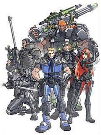 G.I. Joe: Sigma 6 - The heroic military members of G. I. Joe: Sigma 6 (counterclockwise from top to bottom: Heavy Duty, Long Range, Snake Eyes, Duke, Tunnel Rat and Scarlett)