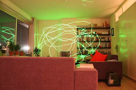 Trails by a 15 mW green laser pointer in a time exposure of a living room at night Greenlasertrails.jpg