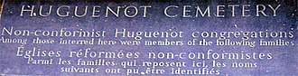Huguenot Cemetery, Dublin - Part of the plaque at the cemetery