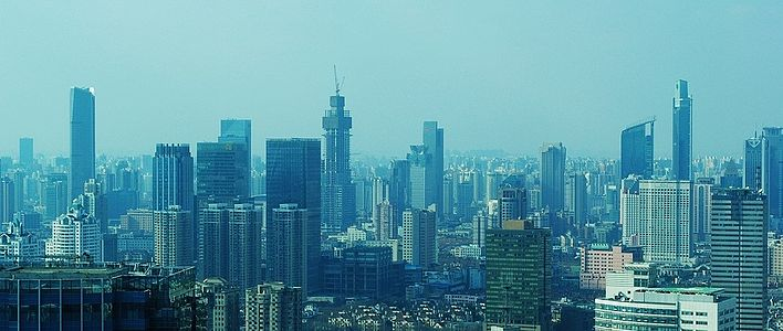 A shot including the 3 tallest structures in Jing'An district