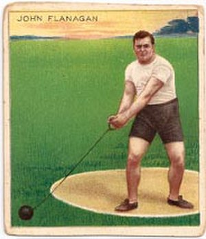 Cigarette card - 1910 Mecca Cigarettes card of John Flanagan, champion weight-thrower of the Irish American Athletic Club.