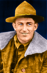 Head-and-shoulders photo of Lt. Josh Cody, white man in his mid-20s, shown in the World War I-era field uniform of the U.S. Army