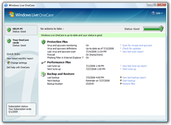 A screenshot of Windows Live OneCare 2.5.2900.03