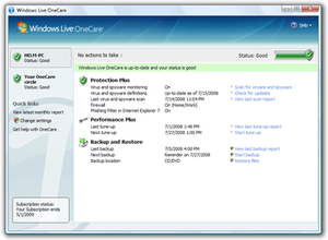 A screenshot of Windows Live OneCare 2.5.2900.30