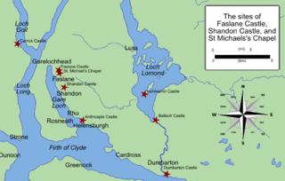 Faslane Castle, Shandon Castle, and St Michaels Chapel