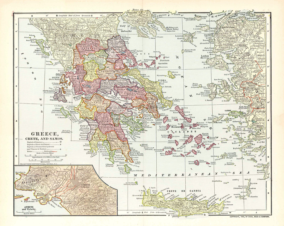 Map of Greece 1903