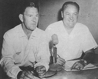 Mel Ott - Ott (left) in the broadcast booth with Van Patrick, 1957