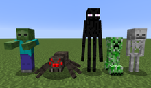 Standing on a flat grassy plain against a blue sky, there is a green zombie wearing a blue shirt and purple pants; a large spider with red eyes; a tall, black, slender creature with purple eyes; a green, four-legged creature; and a skeleton.