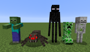 Minecraft - A few of the hostile monsters in Minecraft, displayed from left to right: zombie, spider, enderman, creeper and skeleton