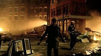 Next to You (Chris Brown song) - Bieber (left) and Brown sing and dance among the destruction during the music video.