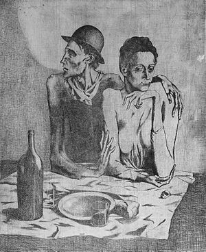 Hammer Museum - Pablo Picasso, 1904, Le repas frugal (The Frugal Repast). Printed in 1913. Etching. Plate: 46.7 x 36 cm; Sheet: 65.4 x 47.6 cm