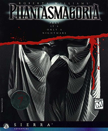 "The cover art with ""Roberta Williams"" on the top, ""Phantasmagoria"" underneath with tagline ""Pray it's only a nightmare"". A statue is seen at the bottom half of the cover art."