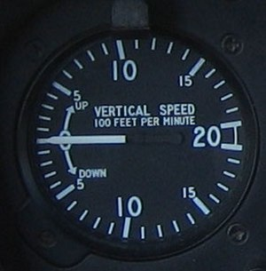 Variometer - The vertical speed indicator from a Robinson R22.  This is the most common type used in aircraft, showing speed in feet per minute