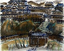 A storyboard image painted by Kurosawa for the movie, Ran: it depicts what appears to be a gate, behind which is a long flight of steps, around which are depicted various large structures in the style of 16th Century Japan.