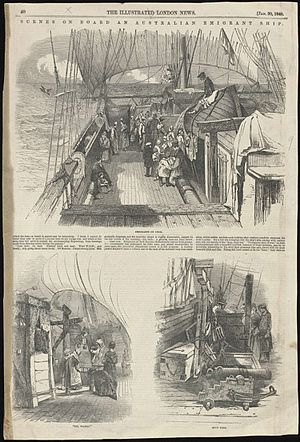 "Highland and Island Emigration Society - ""Scenes on board an Australian emigrant ship"" from Illustrated London News in 1849"