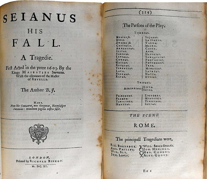 Title page of the 1616 folio edition, with list of actors opposite Sejanus his Fall 1616.jpg