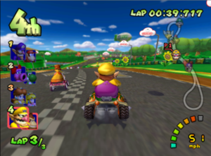 Mario Kart: Double Dash - Racing at Luigi Circuit, the first Mushroom Cup course. 2 players can ride on a kart instead of one in Double Dash!!