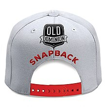 a54401e3106d96 A white snapback hat with red strap is centered on the white background  with the title
