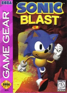 The North American Game Gear cover art of Sonic Blast. In it, Sonic, a cartoonish blue hedgehog with red shoes, runs through a desert-like environment. The game's logo is shown atop him, while the Game Gear banner is seen on the left-hand corner with the Sega brand logo and seal of quality. In the lower right hand corner, the rating label (K-A, meaning kids to adults) can be seen.