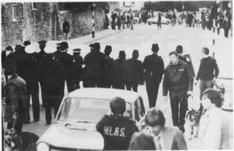 1980 St. Pauls riot - Police facing rioters in City Road, St Pauls.