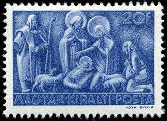 Christmas stamp - Hungarian nativity stamp, 1943