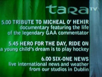 Tara Television - Screenshot of Tara TV from 31 January 2000, including the station's logo; when not broadcasting, the station would show its listings on loop.