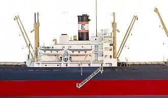 Victory ship - Model of a Victory ship's superstructure and center cranes, the engine room is located below the superstructure.  This model is on display at the American Merchant Marine Museum in Kings Point, NY.