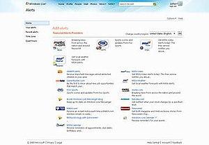 Windows Live Alerts - A screenshot of Windows Live Alerts