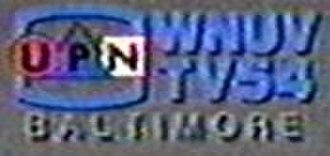 "WNUV - WNUV's logo as a UPN affiliate from January 1995 to January 1998. The ""TV54"" had been in use since 1990, and was retained for a few more months after it became a WB affiliate."