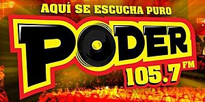 "XHBM-FM - Logo as ""Poder 105.7"" used until 2016"