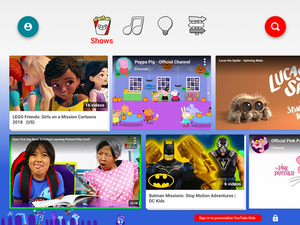 Screenshot of the home screen of YouTube Kids