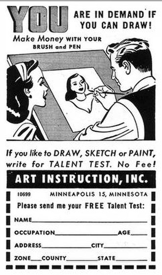 Art Instruction Schools - Ad as it appeared in Modern Romances (November 1949)