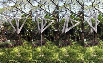 George Rickey - Two Open Triangles Up Gyratory, stainless steel, 1982, Honolulu Museum of Art