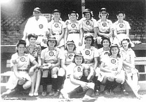 Milwaukee Chicks -  1944 Milwaukee Chicks Photo: AAGPBL files Back, L-R: Max Carey, Thelma Eisen, Merle Keagle, Emily Stevenson, Vickie Panos, Clara Cook. Middle, L-R: Dottie Hunter, Dorothy Maguire, Vivian Anderson, Sylvia Wronski, Alma Ziegler, Dolores Klosowski. Front, L-R: Josephine Kabick, Betty Whiting, Viola Thompson.