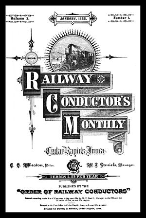 Order of Railway Conductors - Cover of the January 1885 issue of Railway Conductor's Monthly.