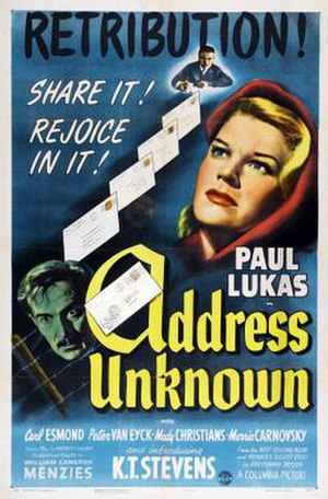 Address Unknown (1944 film) - Theatrical release poster