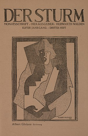 Woman with Black Glove - Albert Gleizes, study for Femme au gants noirs, drawing (zeichnung), published on the cover of Der Sturm, 5 June 1920