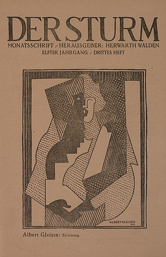 Der Sturm - Albert Gleizes, study for Femme aux gants noirs, drawing (zeichnung), published on the cover of Der Sturm 5 June 1920