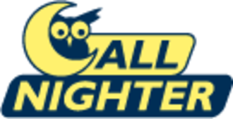 All Nighter (bus service) - All-Nighter, with black and yellow owl and moon crescent mascot.