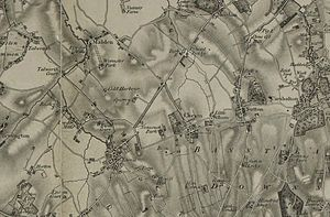 "Stoneleigh, Surrey - 1805 map of the area. Stoneleigh is now around ""Cold Harbour"" and ""Sparrow"" farms (just left of centre)."