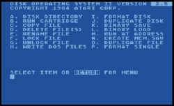 Atari DOS version 2.5, main menu